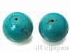 【処分価格】 天然ターコイズ25.5〜26.5mm(丸玉穴あり)×2