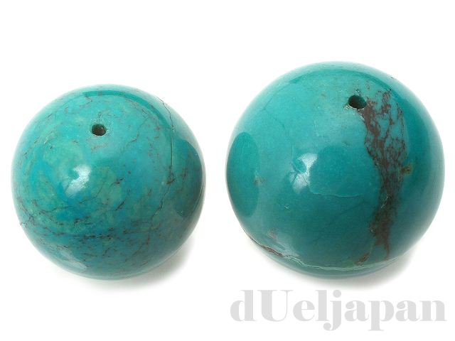 【処分価格】 天然ターコイズ25〜27mm(丸玉穴あり)×2
