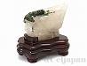 トルマリン入り水晶 原石(木製台座付)484g