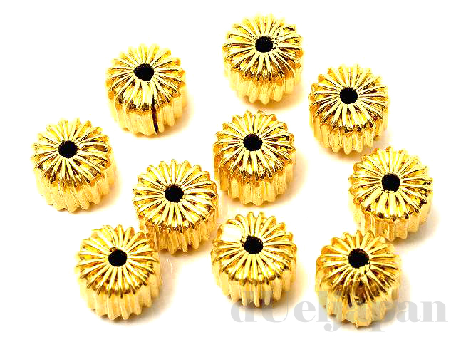 8×6mm シボリ玉 (ゴールドカラー) ×10個