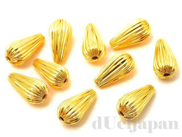 13×7mm シボリ玉 ドロップ (ゴールドカラー) ×10個