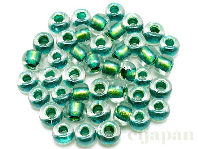 3205 6mmマジックカラーグラスビーズ ×10g【クリスタル中染/グリーン】