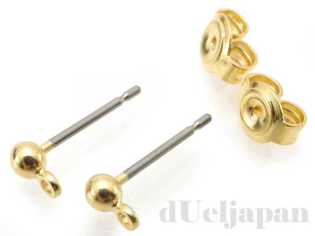 3mm玉&カン付チタンポストピアス 13mm (ゴールドカラー)
