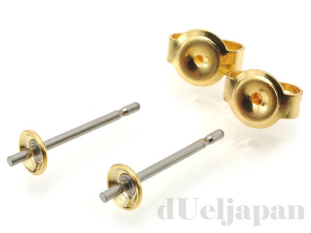4mm凹皿&ツキサシ付 チタンポストピアス 13mm (ゴールドカラー)