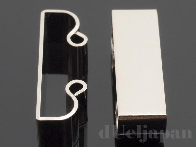 ループタイ留め金具 19×6mm (シルバーカラー) ×2個