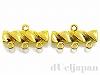 3連エンドパーツ 19×11mm (ゴールドカラー) ×2個