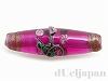 5 23×7mm花柄チェコビーズ(ピンク)