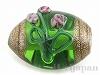 2 11×9mm花柄チェコビーズ(グリーン)
