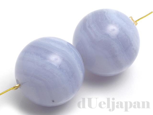 16mm 丸玉 ブルーレースアゲート ×2個