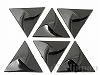1辺38mm正三角形 プレクシカットビーズ(穴なし・ブラック) ×6個