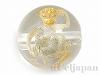 天然水晶・十二支彫り【さる/申】10mm(丸玉/ゴールド)