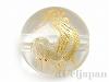天然水晶・十二支彫り【とり/酉】10mm(丸玉/ゴールド)