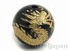 オニキス十二支彫り【たつ/辰】10mm(丸玉/ゴールド)