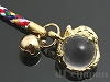 天然水晶十二支ストラップ9cm【ねずみ/子】〔根付紐〕(ゴールドメッキ)