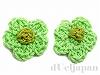 手編みパーツ22mm(ライトグリーン/グリーン) 2個