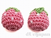 手編みパーツ16〜18mm(イチゴ/ピンク) 2個