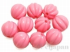 12mm丸玉スジ入り樹脂ビーズ(ピンク) ×10個