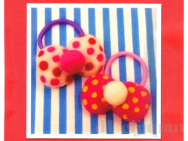 【フェルトキット】ポルカドットのリボンゴム(ピンク)