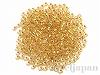 #195 3mm 18金メッキガラスビーズ(丸大) ×10g【クリスタルゴールドライン(純金メッキ)】
