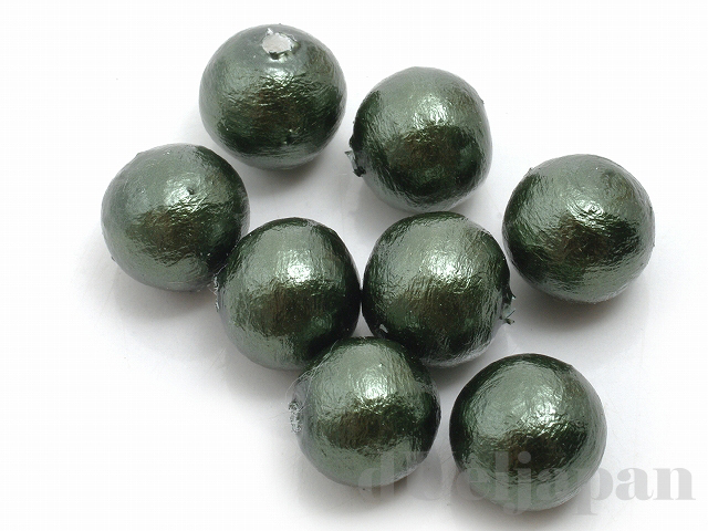 片穴丸玉 8mm 8粒 コットンパール(ダークグリーン)