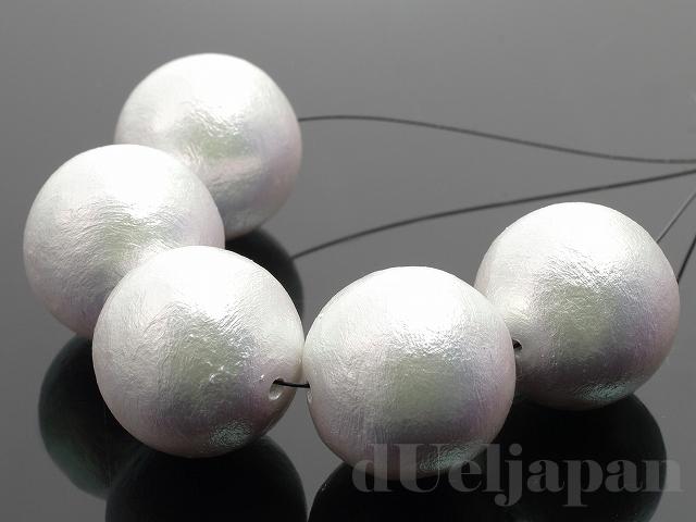 丸玉 18mm 5粒 コットンパール(リッチホワイト)