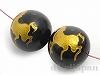 12mm 馬彫刻(ゴールドカラー) オニキス ×2個