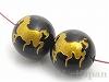 10mm 馬彫刻(ゴールドカラー) オニキス ×2個