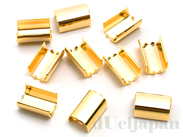 ツメ付留め金具 内幅約3.5mm (24金メッキ) ×10個