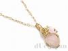 ローズクォーツと薔薇のネックレス