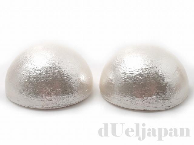 半丸 25mm 2粒 コットンパール(ホワイト)