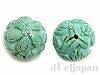 【処分価格】 20mm フラワー彫刻丸玉 マグネサイトターコイズ ×2個