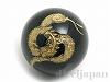 オニキス十二支彫り【へび/巳】10mm(丸玉/ゴールド)