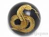 オニキス十二支彫り【へび/巳】12mm(丸玉/ゴールド)