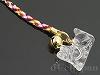 水晶十二支 手彫りストラップ9cm【うま/午】(ゴールドメッキ)