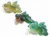 金魚彫りアゲート 22〜30mm(緑) ×3個
