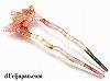 和柄アクリル製かんざし 蝶 95×35mm (ピンク)