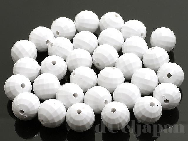 18mm 丸玉カット 樹脂ビーズ(ホワイト) ×100g