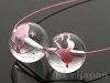 12mm Wハート+キューピットの矢(ピンク) 丸玉 天然水晶 ×2個