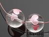 12mm ダブルハート彫刻(ピンク) 丸玉 天然水晶 ×2個