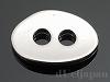 2穴ボタン オーバル(小) 8.5×12.5mm (ロジウムカラー)