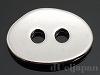 2穴ボタン オーバル(大) 13×18mm (ロジウムカラー)