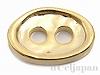 2穴ボタン オーバル槌目(小) 8.5×12.5mm (24金メッキ)