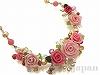 ピンクグラデーションクレイ薔薇のブーケネックレス(淡水パール・天然石・チェコガラス)